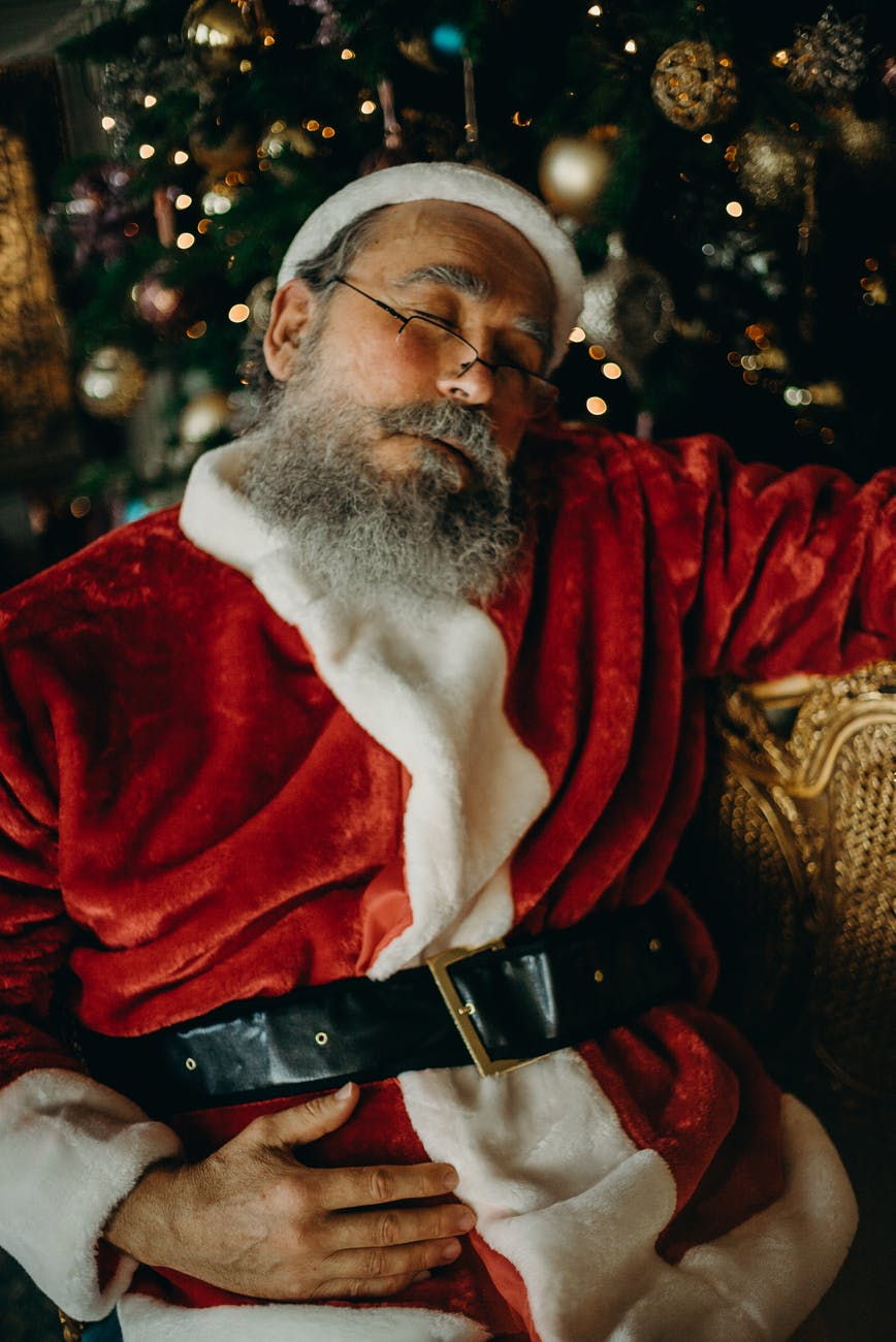 photo of santa claus sleeping